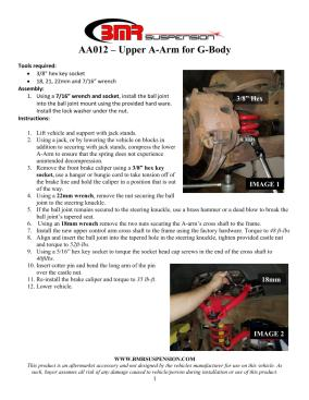 BMR Installation Instructions for AA012