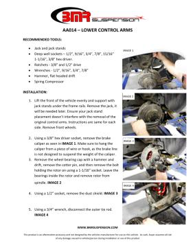BMR Installation Instructions for AA014