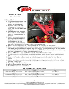 BMR Installation Instructions for AA017