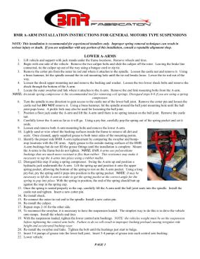 BMR Installation Instructions for AA029