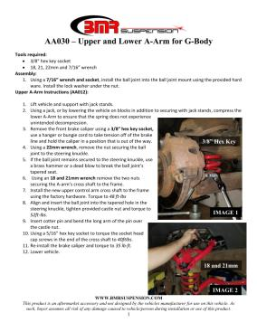 BMR Installation Instructions for AA030