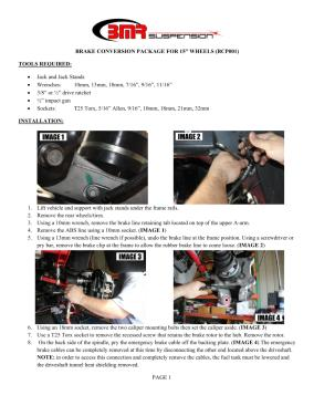 BMR Installation Instructions for BCK003