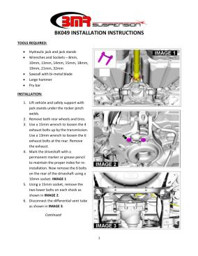 BMR Installation Instructions for BK049