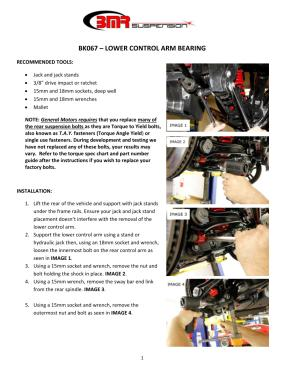BMR Installation Instructions for BK067