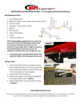 BMR Installation Instructions for BK070