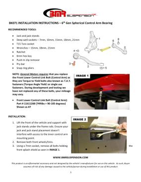 BMR Installation Instructions for BK071