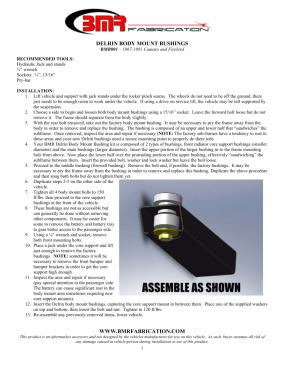 BMR Installation Instructions for BMB001