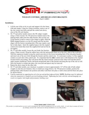 BMR Installation Instructions for CAB001