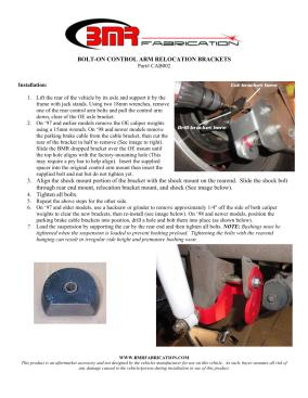 BMR Installation Instructions for CAB002
