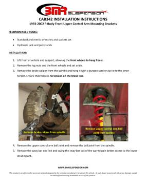 BMR Installation Instructions for CAB342