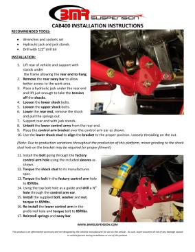 BMR Installation Instructions for CAB400