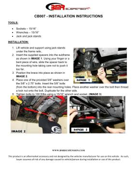 BMR Installation Instructions for CB007