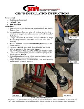 BMR Installation Instructions for CBK760
