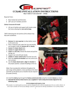 BMR Installation Instructions for CCK402