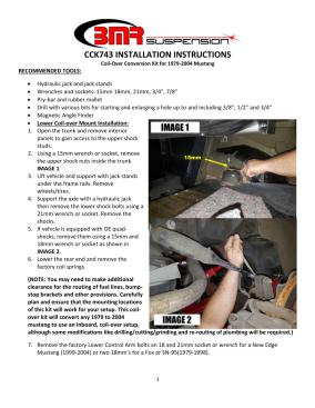 BMR Installation Instructions for CCK743