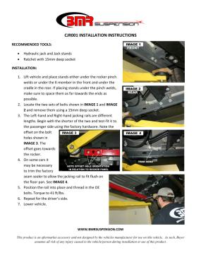BMR Installation Instructions for CJR001