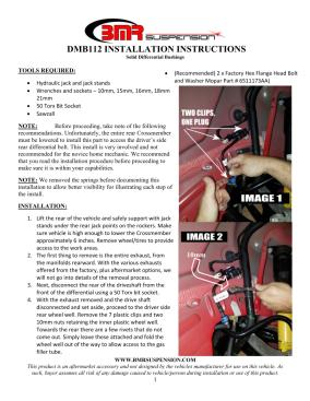 BMR Installation Instructions for DMB112