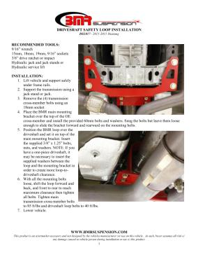 BMR Installation Instructions for DSL017