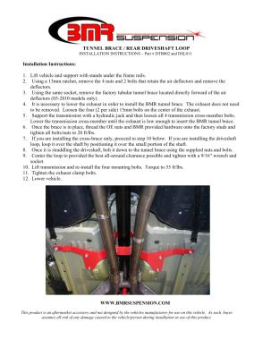BMR Installation Instructions for DTB002