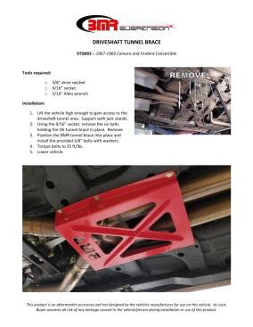 BMR Installation Instructions for DTB003