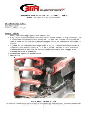 BMR Installation Instructions for ELK006