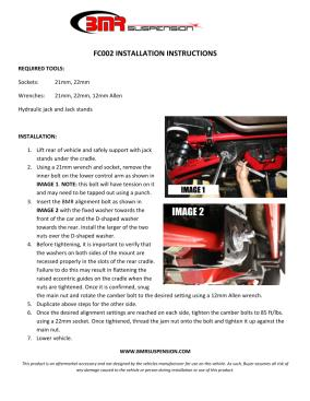 BMR Installation Instructions for FC002