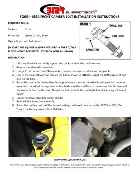 BMR Installation Instructions for FC003