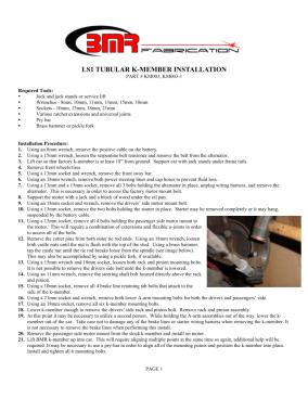 BMR Installation Instructions for KM003