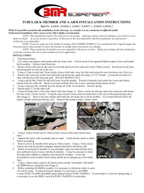 BMR Installation Instructions for KM008