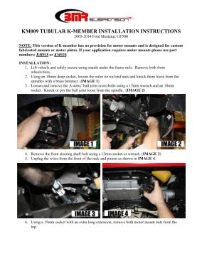 BMR Installation Instructions for KM009