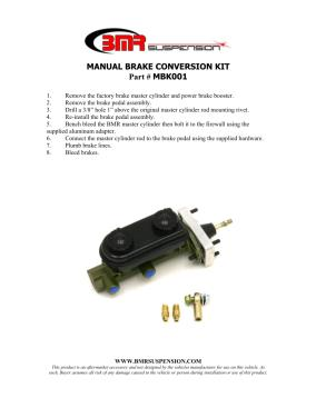 BMR Installation Instructions for MBK001