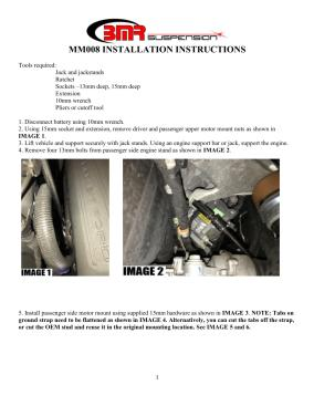 BMR Installation Instructions for MM008