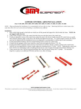 BMR Installation Instructions for MTCA001