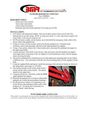 BMR Installation Instructions for PHR004