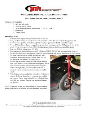 BMR Installation Instructions for PHR012