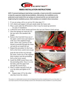 BMR Installation Instructions for RB003