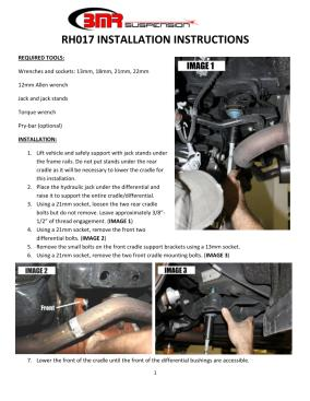 BMR Installation Instructions for RH017