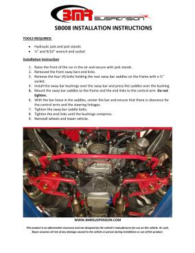 BMR Installation Instructions for SB008