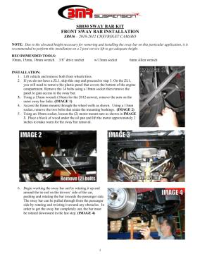 BMR Installation Instructions for SB016