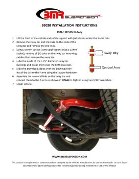BMR Installation Instructions for SB020