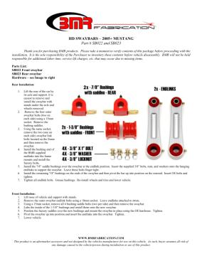 BMR Installation Instructions for SB022