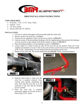 BMR Installation Instructions for SB035
