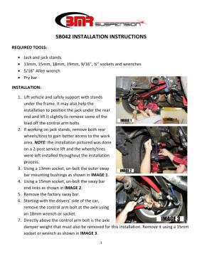 BMR Installation Instructions for SB042