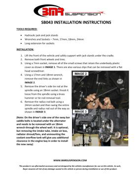 BMR Installation Instructions for SB043
