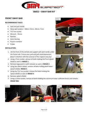 BMR Installation Instructions for SB052