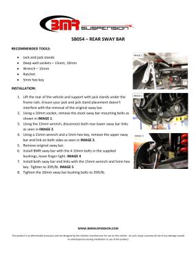 BMR Installation Instructions for SB054
