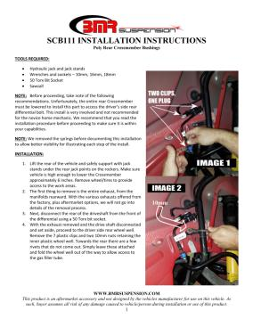 BMR Installation Instructions for SCB111