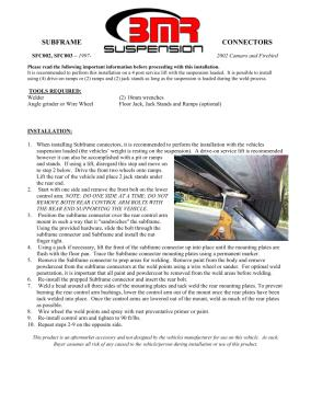BMR Installation Instructions for SFC003
