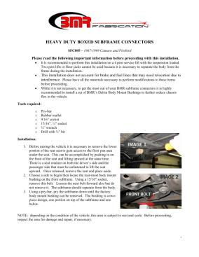 BMR Installation Instructions for SFC005