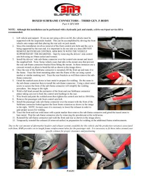 BMR Installation Instructions for SFC009